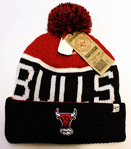 '47 Brand Chicago Bulls Calgary Knit 2014 Cap - Basketball Beanie With Pom