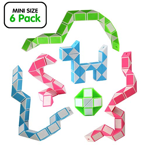 Ganowo Magic Snake Cube Mini 6 Pack-24 Blocks Twist Puzzle Collection Brain Teaser Toy Snake Ruler Fidget Toys Sets Gift for Kids Game Geometric