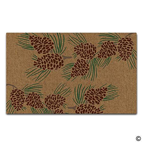 (Artswow Funny Door Mat Entrance Floor Mat Pine Cone Designed Decorative Indoor Outdoor Doormat Enterways Non-Slip Rubber Backing Mat 23.6