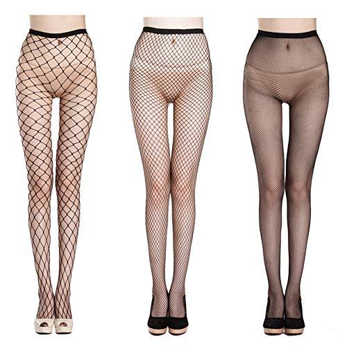 Black Fishnet Leggings (Fishnet Stockings Sexy Net Pantyhose Womens Mesh Tights (Pack of 3))