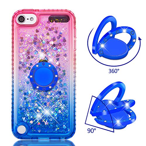 iPod Touch 6 Case,Touch 5 Case with Ring Holder,Gradient TPU Liquid Glitter Quicksand Bling Diamond Rubber Bumper Defender Protective Cover with Ring Kickstand for iPod Touch 6 / Touch 5 (Pink/Blue)
