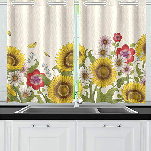 (YUMOING Decorative Flowers Design Sunflowers Wildflowers Etching Kitchen Curtains Window Curtain Tiers for Café, Bath, Laundry, Living Room Bedroom 26 X 39 Inch 2 Pieces)