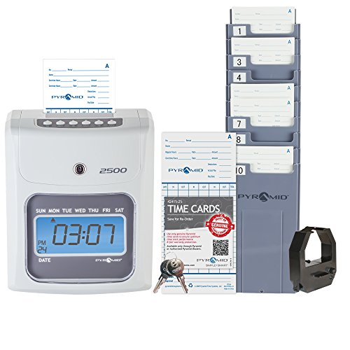Pyramid 2500 Time Clock Bundle with 100 Time Cards, Card Rack and Ribbon - No Employee Limit - Data Card Ribbon