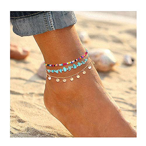 Anklets For Women Girls Color Beads Turquoise Drop Sequin Charm Adjustable Ankle Bracelets Set Boho Multilayer Beach Foot Jew