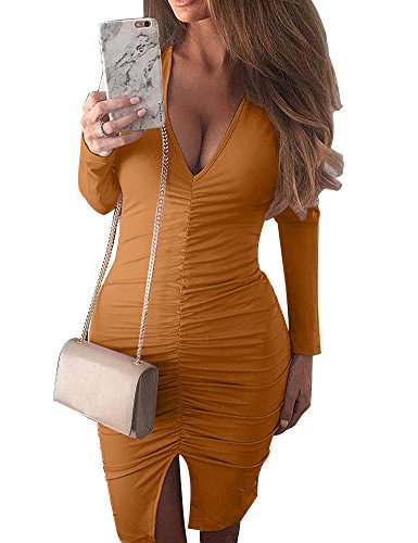 Allegrace Women Sexy V Neck Long Sleeve Stretch Bodycon Party Bandage Mini Dresses Ginger L (Sexy Ginger)