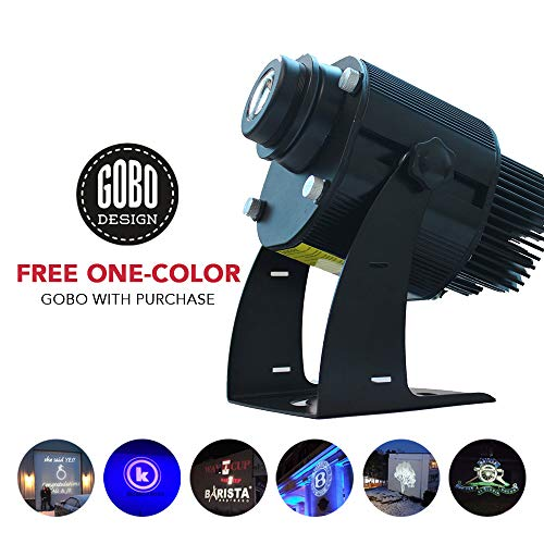 Instagobo 20W LED Custom Image GOBO Logo Projector Light with Static Function Manual Zoom&Focus Customized Gobos for Company Hotel Restaurant Advertising Signs (Black) (Indoor Gyrate)