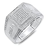 0.35 Carat (ctw) Sterling Silver Round Cut Diamond Men's Flashy Hip Hop Pinky Ring (Size 10)