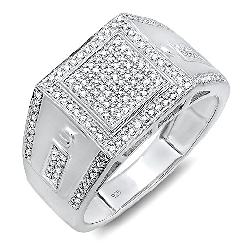 0.35 Carat (ctw) Sterling Silver Round Cut Diamond Men's Flashy Hip Hop Pinky Ring (Size 7.5) by DazzlingRock Collection