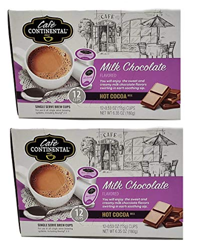Cafe Continental Flavor Bundle Mix 2-Pack 12 Single Serve Brew Cups each Flavor (Milk Chocolate Hot Cocoa, 2) ()