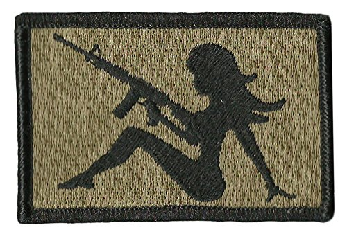 """AR-15 Trucker Girl Tactical Morale Patch - 2""""x3"""" - Coyote Ta"""