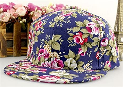 cffa7f7f Floral Flower Snapback Adjustable Fitted Men's Women's Hip-Hop Cap Hat  Headwear at Amazon Women's Clothing store:
