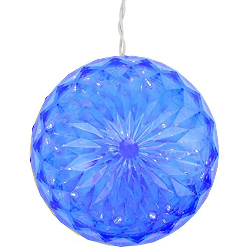 PENN Blue LED Lighted Hanging Christmas Crystal Sphere Ball Outdoor Decoration - Spheres Lighted