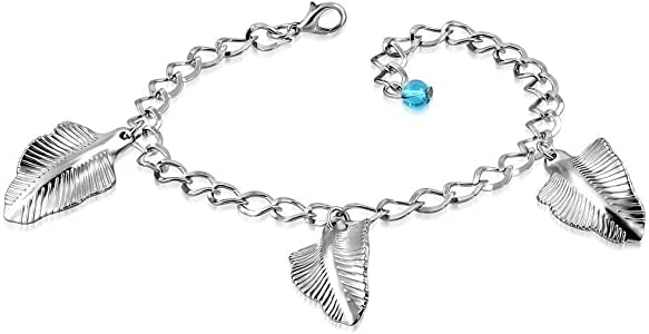Fashion Feather Leaf Bead Charm Link Chain Bracelet/Anklet