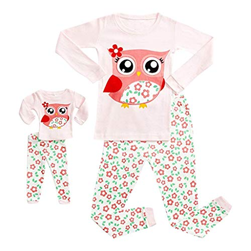 Clearance! 2-10T Kids Toddler Baby Pajamas Sleepwear Tops + Pants Matching Set For American Girl Doll & Girls (9-10 Years, White)