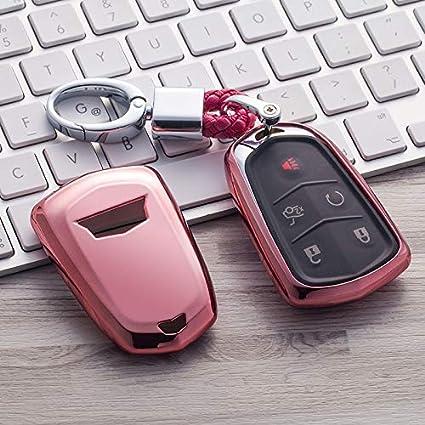 Car Remote Key Fob Case for Cadillac ATS-L CT6 XTS XT5 CTS SRX Escalade Fob Remote Key+Keychain Pink MAXMILO Soft TPU Case Cover Protector Case for Cadillac Key Fob