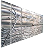 Silver Abstract Ocean Scene Tropical Palm Tree Metal Wall Art - Hand-Etched Modern Beach Decor - Castaway by Jon Allen