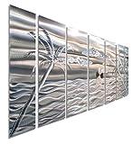 Large Silver Palm Tree Metal Wall Art, 68'' x 24'', Tropical Wall Decor, Modern Nautical Decor by Jon Allen Metal Art - Castaway