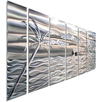 Amazon Com Palm Tree Set Of 3 Metal Wall Art Decor Home