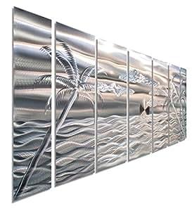 "Amazon.com: Large Silver Palm Tree Metal Wall Art, 68"" x ..."