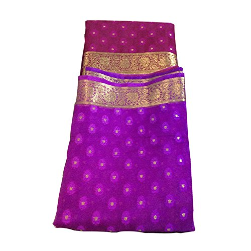 Sajne Purple Color Shaded Golden Contrast Border Silk Saree