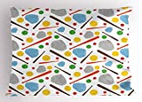 Lunarable Baseball Pillow Sham, Colorful Sports Theme Pattern with Gloves Bats and Balls Activity Fun Game Play, Decorative Standard Size Printed Pillowcase, 26 X 20 inches, Multicolor