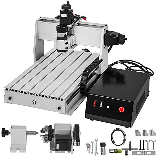 VEVOR CNC Router 3040 4 Axis CNC Router Machine 300x400mm CNC Router Kit 200W MACH3 Control Large 3D Engraving Machine CNC Router Kit with USB(3040 4 Axis with USB)