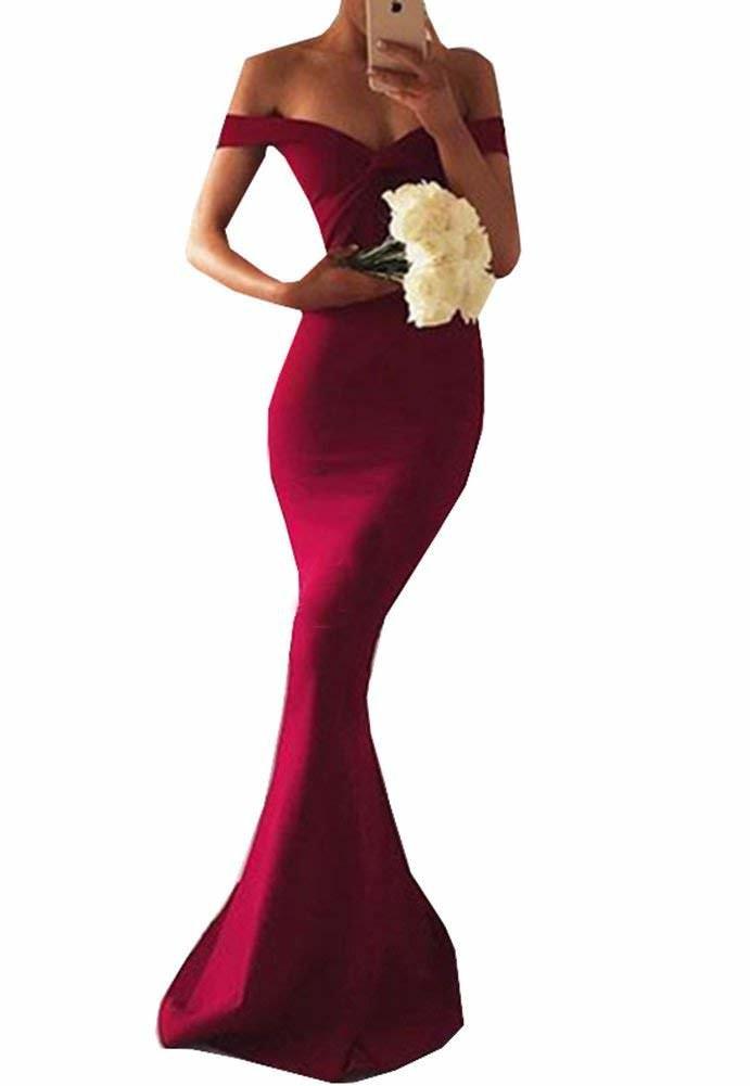 Venus Bridal Damen Meerjungfrau Spitze Spitze Spitze Partykleid Einfache Trompete Abendkleid Spitze Abendkleid Stil3 Style3 Weinrot 24846d