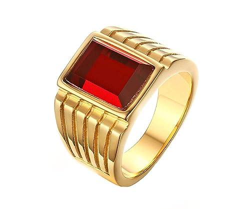 anello uomo pietra rossa