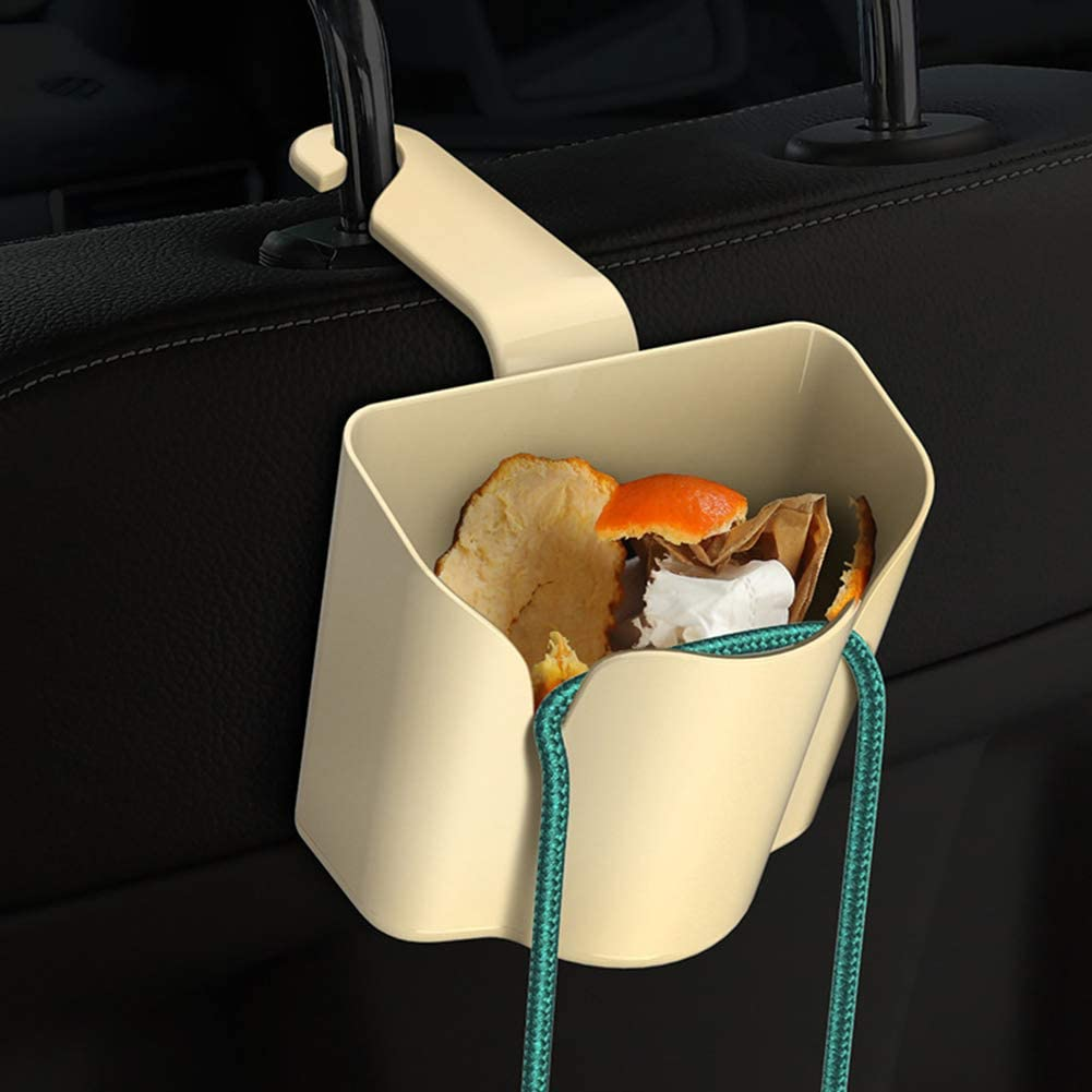Beige lRICE-home Car Back Seat Hook Phone Holder Storage Box Trash Rubbish Garbage Can Mobile
