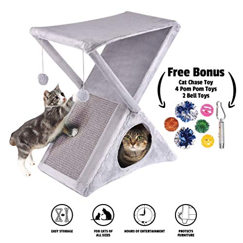 Ruff 'n Ruffus Foldable Cat Tower Tree + Free Bonus Handheld Chase Toy + 6 Cat Toys | Plush Folding House with Hammock | Condo | Scratching Pad | & Play Balls | for Kittens | Medium & Large Cats 2