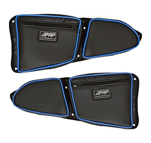 - Pair of Side Door Bags For Stock 2 Seat Polaris RZR XP 1000 Doors With Blue Piping - One Driver Side Bag, One Passenger Side