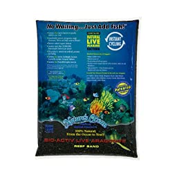 Nature\'s Ocean Bio-Activ Live Aragonite Beach Live Sand for Aquarium, 10-Pound, Black