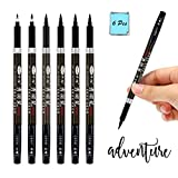 Hand Lettering Pens, Bowite Calligraphy Pens for Beginner, Pack of 6, 1 x Fine, 1 x Medium and 4 x...