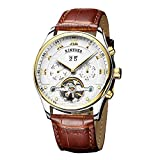 KINYUED Original Stainless Steel Men's Multifunctional Automatic Mechanical Watches Leather Strap