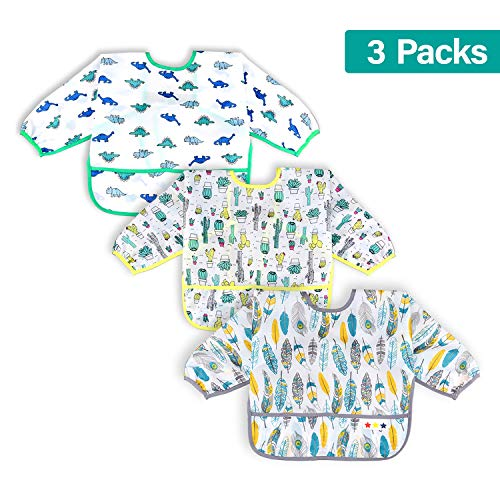 ib Set | Baby Waterproof Bibs with Pocket Bundle | Toddler Bib with Sleeves and Crumb Catcher | Stain and Odor Resistance Play Smock Apron - Pack of 3 | 6-24 Months ()