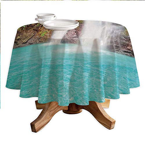 Waterfall Round Polyester Tablecloth,Waterfall and Clear Natural Pool Plants Sunbeams Summer Day View,Dining Room Kitchen Round Table Cover,42