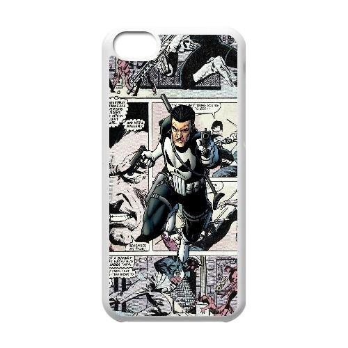 F8O55 The Punisher Comics R2T7WB cas d'coque iPhone de téléphone cellulaire 5c couvercle coque blanche KS5QSU1WV