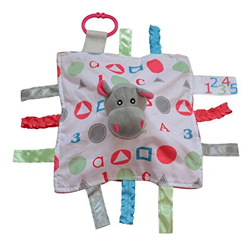 Lovey Security Baby Blanket Hippo Sensory Tag Chewing Toy The