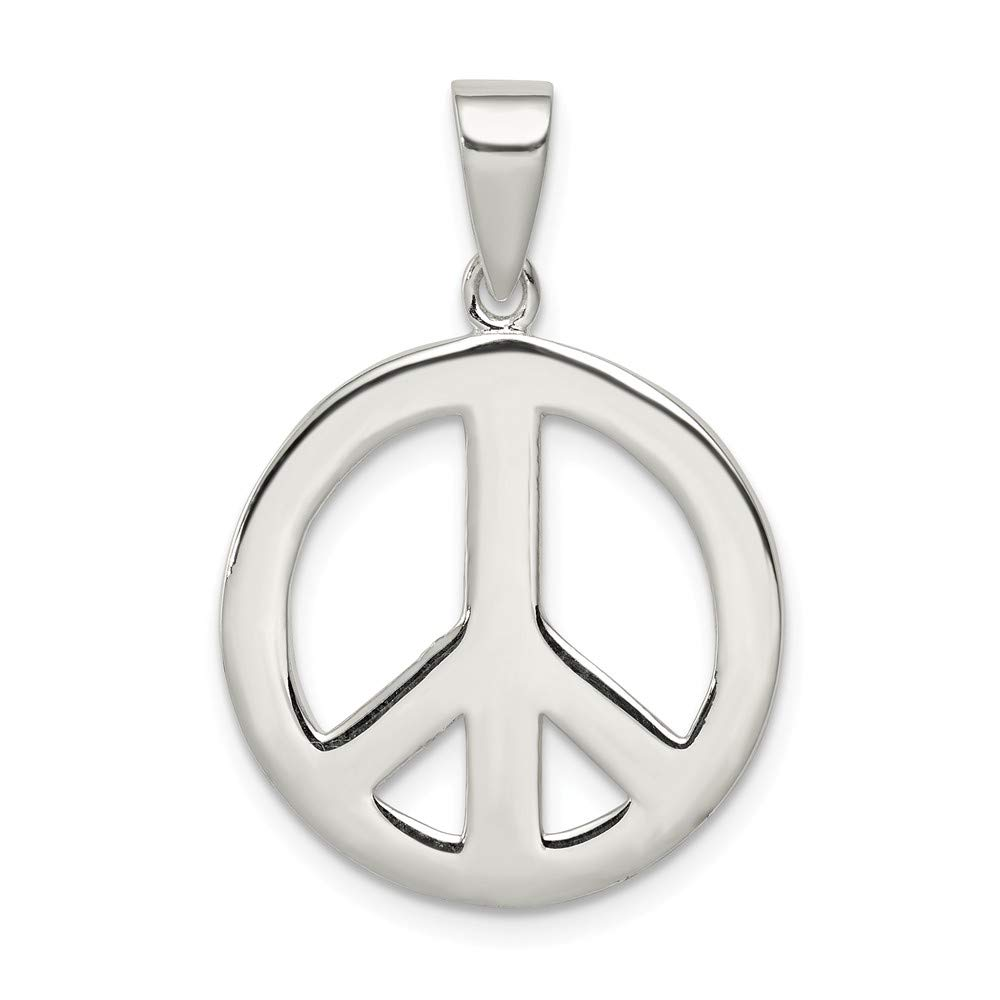 Solid 925 Sterling Silver Round Polished Peace Pendant 19mm x 27mm
