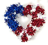 Combined Brands Patriotic Mylar tinsel Decorative Heart Wreath Red White and Blue Stars and Stripes 15.5 inch By 15 Inch