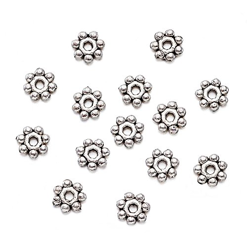 Pandahall 200pcs Antique Silver Tone Retro Style Snowflake Spacer Loose Beads Tibetan Style Spacers Lead Free Cadmium Free Nickel Free (Tone Nickel Accents)