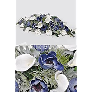 Blue Fresh Touch Anemone & White Calla Lily Wedding Top Table 17