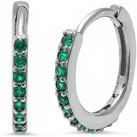 Round Hoop Simulated Emerald .925 Sterling Silver Earrings
