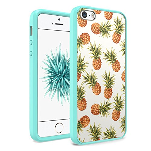 iPhone SE Case, iPhone 5s / iPhone 5 Case, Capsule-Case Hybrid Slim Hard Back Shield Case with Fused TPU Edge Bumper (Teal Green) for iPhone SE / iPhone 5s / iPhone 5 - (Pineapple)