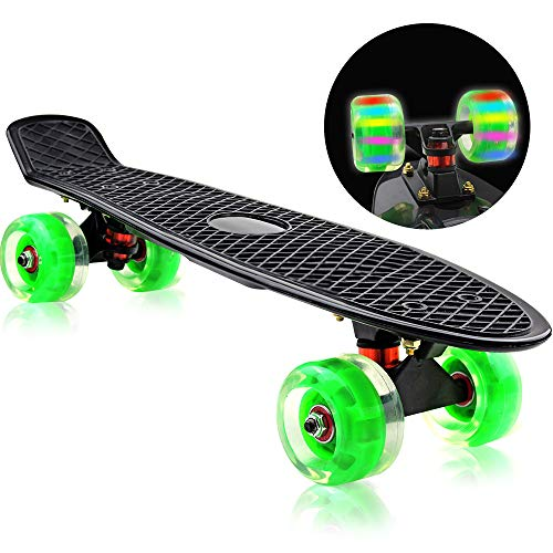Easy_Way Complete Skateboards, Standard Skateboards-Mini 22 Inch Professional Cruiser Penny Boards for Kids Boys Girls Beginners with High Rebound PU Flashing Wheels (Reflex Abec Bearings)