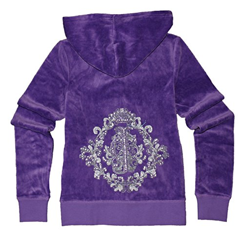 Juicy Couture Glitter Rhinestone (Juicy Couture Womens 'JC' Vignette Velour Hoodie (X Small, Bright)