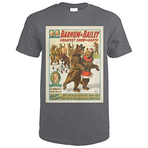 Barnum and Bailey - Bears theat Dance Vintage Poster USA c. 1916 (Dark Grey Heather T-Shirt (Bailey Mens Clothing)