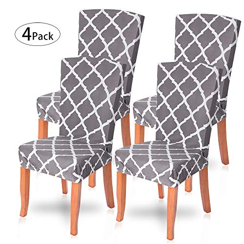 SearchI Dining Room Chair Covers Slipcovers Set of 4, Spandex Fabric Fit Stretch Removable Washable Short Parsons Kitchen Chair Covers Protector for Dining Room, Hotel (Gray+White, 4 per -
