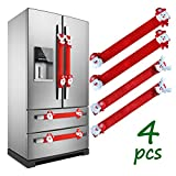 LimBridge Christmas Refrigerator Door Handle Cover, Set of 4 3D Fleece Cover for Double Door Fridge, Kitchen Microwave Dishwasher Handle Decorations, Red