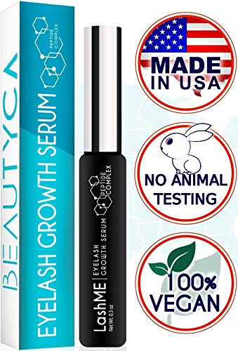 Eyelash Growth Serum Eyebrow Growth - Vegan Lash Boost 8,5 ML - Best Eyelash Conditioner - Brow Enhancer - USA Made Irritation Free Formula (Active Ingredient In Rodan And Fields Lash Boost)